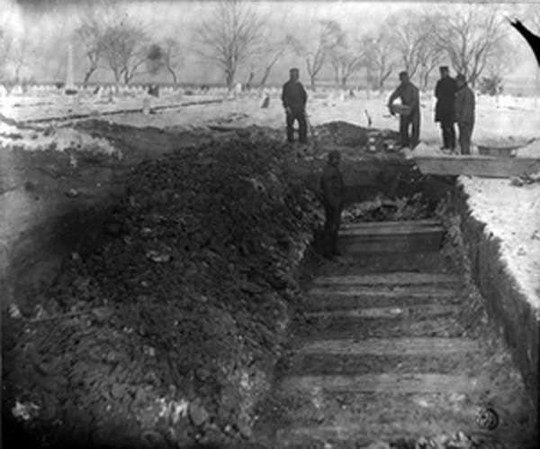 Hart Island History. Potter's Field trenches. Adults were buried 3 coffins on top of each other; children 5 on top