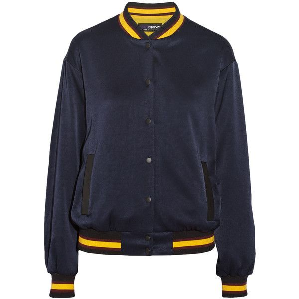 DKNY + Cara Delevingne crepe de chine varsity jacket ($142) ❤ liked on Polyvore featuring outerwear, jackets, dkny, blue, college jacket, teddy jacket, varsity style jacket, striped jacket and letterman jackets