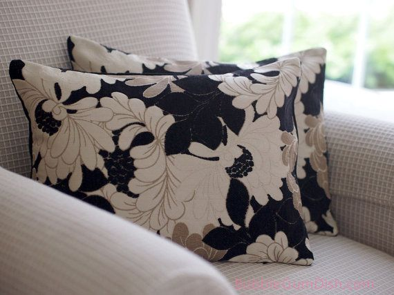 Home Decor Floral Pillow Cover Black Beige Cream 12 X 16