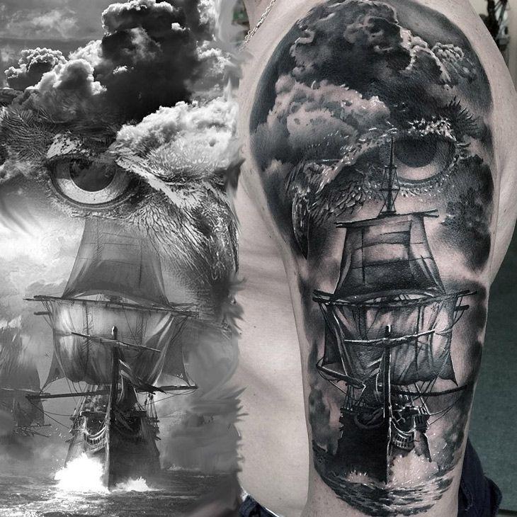 Owl & Sailing Ship