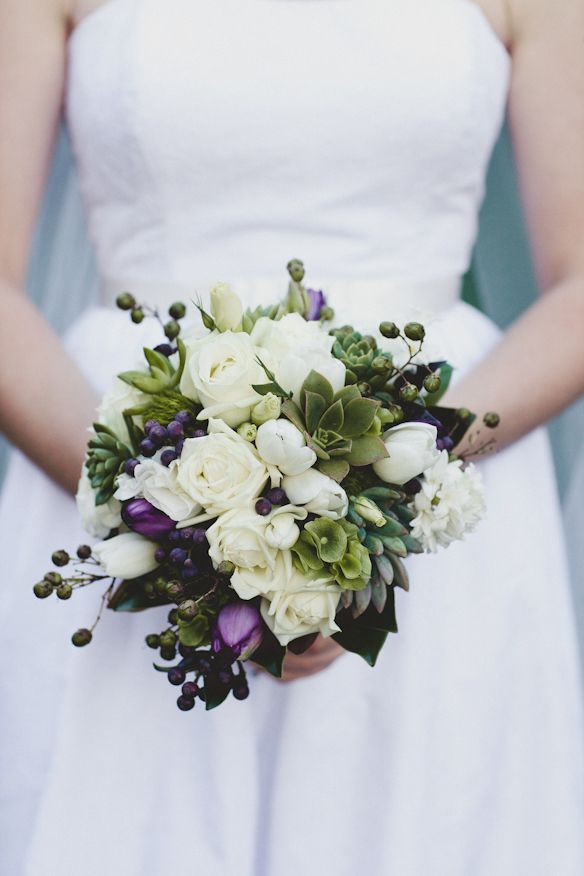 Bouquet with white, green and purple   |   Photographer: Bec Johnson Photography   |     Bouquets & Buttonholes: AD Artistry