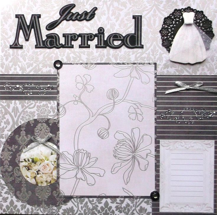 """Just Married wedding scrapbook page is ready to use. No assembly needed. Not a printed ink page. It is 3 dimensional, designed from cardstock, ribbon, die cut 3D layered sticker, flourishes, tulle, doily, and buttons. Lots of bling - foil, rhinestones, metallic ribbon, and glitter. Mat holds photos up to 5""""x7"""". Acid free and ships next day in sturdy packaging. For use in scrapbook or frame. Includes flowers, bows, and gown to accent your photos"""