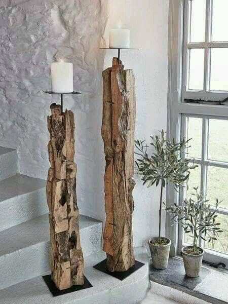 Woodsy candle holders as entry way interior decor, rustic chic inspiration