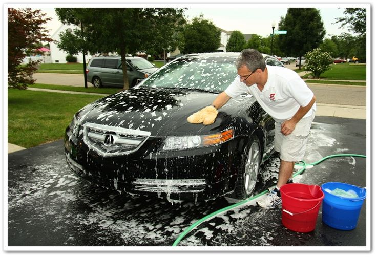 Washing an Acura TL with a sheepskin wash mitt and Chemical Guys Citrus Wash and Clear