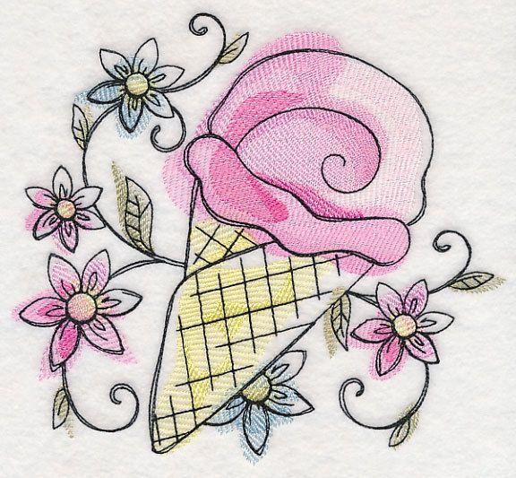 Set of 6 Sweet Summer Ice Cream treats  fabric sewing quilt blocks squares