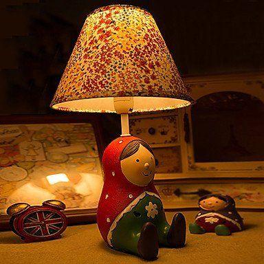Makenier Matryoshka bambola cartoon lampada da comodino, carino resina rossa