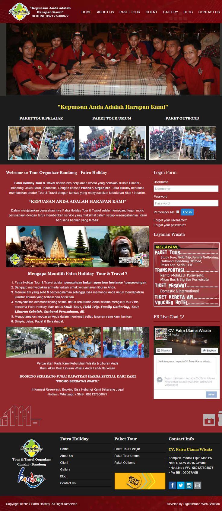 Fatra Holiday. Website tour & travel yang didesain elegan untuk bisnis jasa wisata di Bandung.