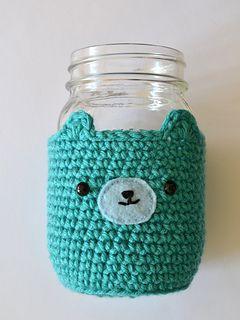 Mason Jar Bear Cosy pattern by Pops de Milk