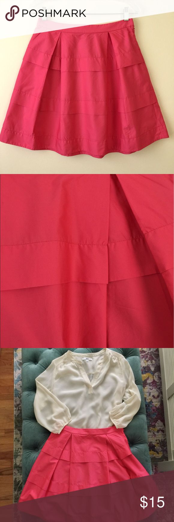 Deep Coral Sateen J Crew Skirt Gorgeous color, really pops! There is a subtle sheen to the fabric making it even more special. Adorable pleats front and back. Styled with silk Uniqlo blouse also from my closet! 100% cotton, dry clean recommended, but can be hand washed, line dried and ironed on low. Gently used. J. Crew Skirts A-Line or Full