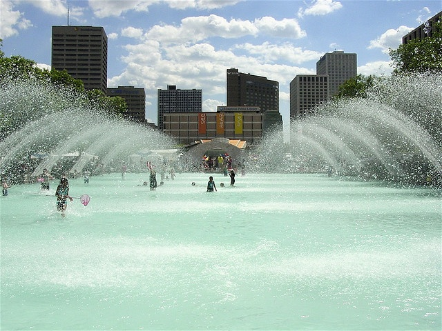City Hall fountains in downtown Edmonton