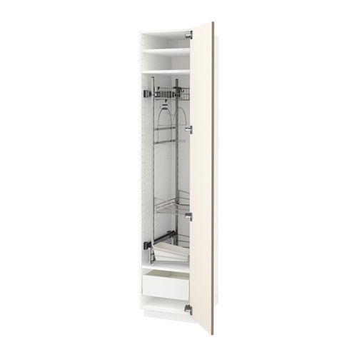 IKEA - METOD / FÖRVARA, Aa limpieza, blanco, Ubbalt beige oscuro, , El cajón FÖRVARA se puede abrir hasta tres cuartas partes de su fondo y tiene mucho espacio de almacenaje.Puedes montar la puerta para que se abra desde la derecha o la izquierda.La estructura es de construcción resistente: 18 mm de grosor.Las bisagras que encajan por presión se montan sin tornillos y permiten desmontar fácilmente la puerta para limpiarla.