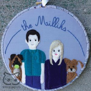 """Family Portrait, hoop art custom personalized portrait, pet portrait, up to 5 people & 3 pets - This listing is for an 8"""" wooden embroidery hoop, framed with decorative ribbon or fabric, and decorated with a hand-embroidered family name or short phrase (up to three words, up to 5 family members or friends and up to 3 pets. Each personalized family portrait hoop is designed, cut and embroidered by hand with love and care."""