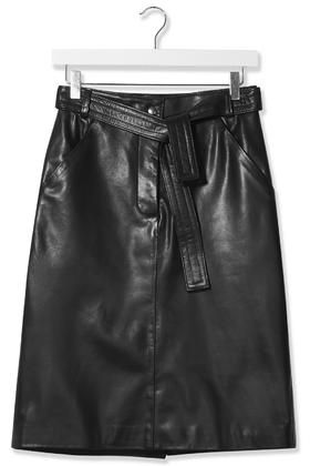 Black Leather Judo Pencil Skirt by Boutique