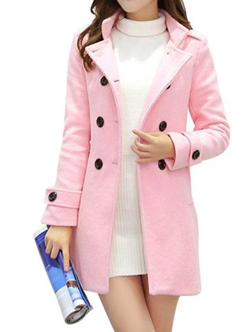 Elegant Women Long Sleeve Double Breasted Woolen Coat