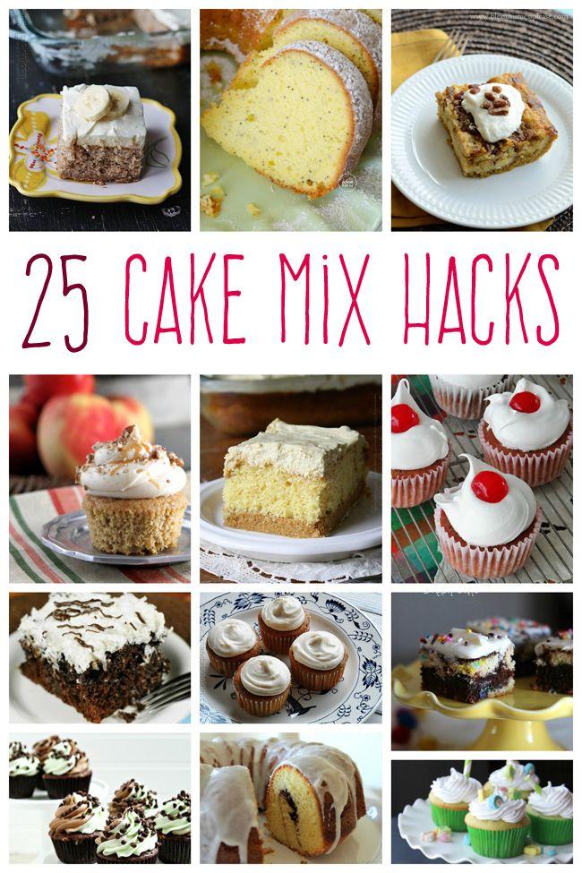 25 Doctored Cake Mix Recipes. I love easy ways to make something yummy! Cake mixes are a great thing! #cake #cakemixes #hacks