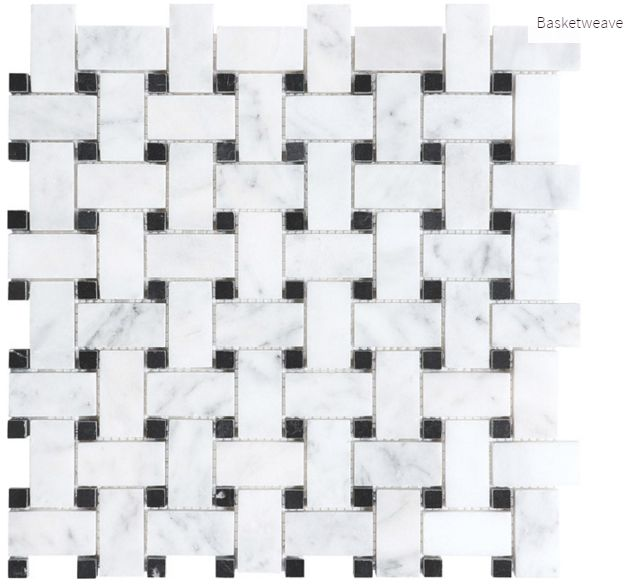 Carrara Extra Marble Basketweave #marble #faberstoneandtile