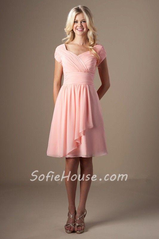 84b66bc81c5d Modest A Line Sweetheart Cap Sleeve Light Coral Chiffon Short Bridesmaid  Dress | Favorites in 2019 | Modest bridesmaid dresses, Bridesmaid dresses,  ...