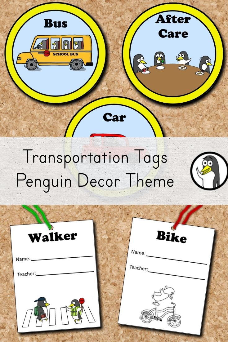 These transportation tags can help keep dismissal time organized. The set includes a clip chart to show how each student will get home. The set also includes smaller tags that can be attached to backpacks or worn on the child's clothing during the first week of school. The smaller tags have been provided in both color and black and white. #classroomdecor #kindergarten #FIRSTGRADE #penguins #teachersfollowteachers