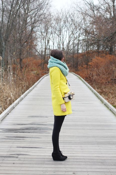 A brightly colored coat is essential for winter. effortlessly stylish (and warm!) #yellow #cozy #layers