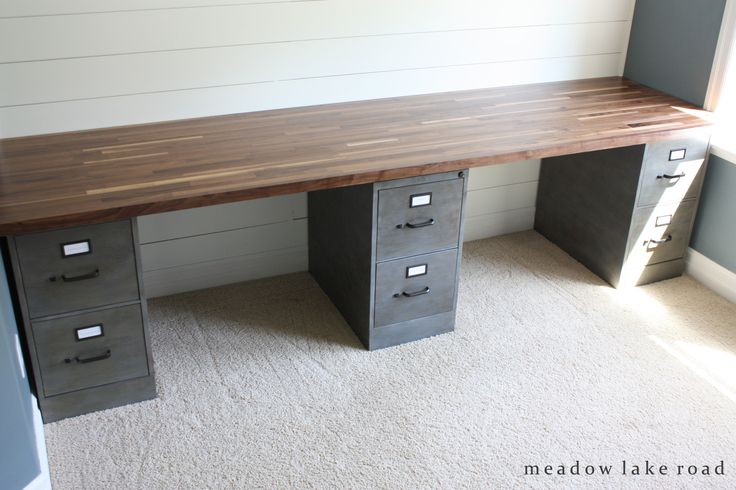 custom desk with painted metal file cabinets and butcher block desk top | www.meadowlakeroad.com