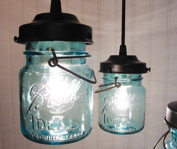 Vintage BLUE Canning Jar light pendants for over the bar