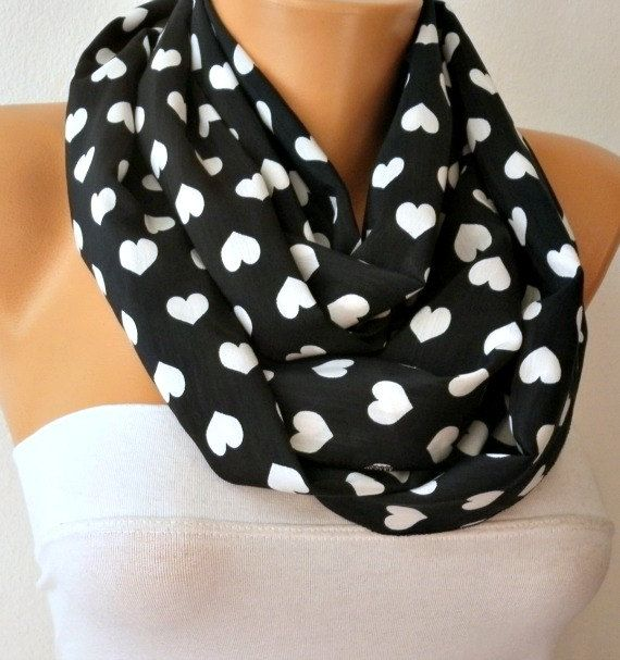 black and white heart infinity scarf