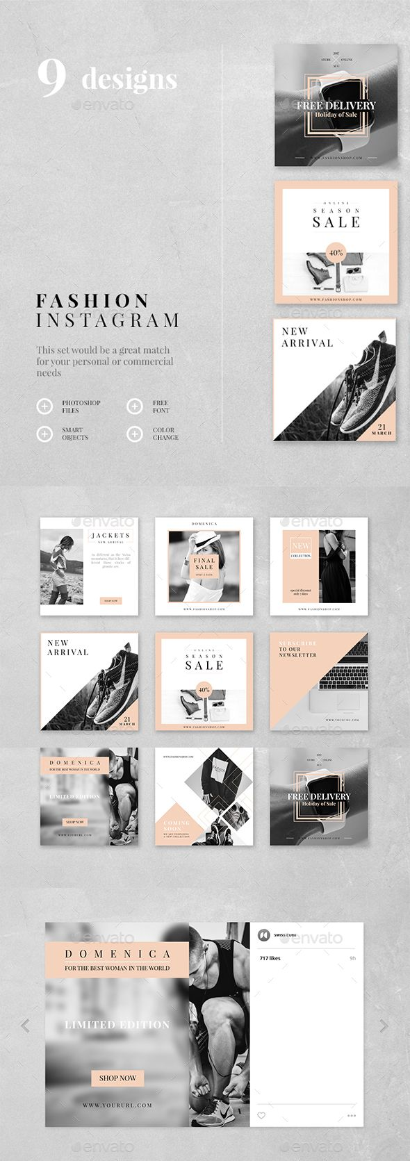 Fashion Instagram  9 Designs — Photoshop PSD #marketing #instagram • Download ➝ https://graphicriver.net/item/fashion-instagram-9-designs/19413182?ref=pxcr