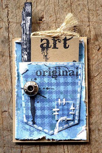 Pocket ATC by Belinda Spencer using Darkroom Door Plaid Texture Stamp and Artist Rubber Stamp Set.