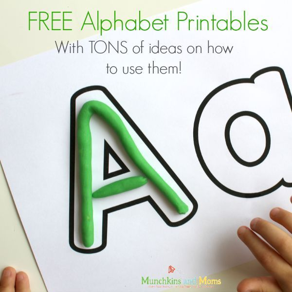 FREE alphabet printables with a big list of ideas on hoe to use them with preschoolers!