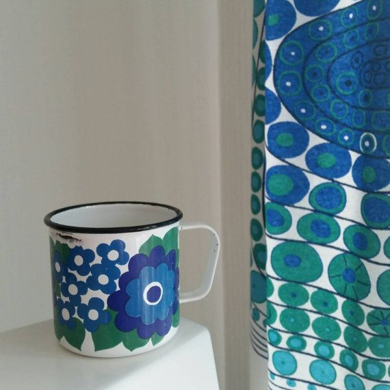 Vintage Finel Arabia  blue green Enamel mug. by scandinavianseance