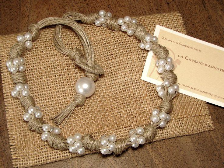 """Collier """"Noces champêtres"""" en lin et perles nacrées : Collier par annatibga"""