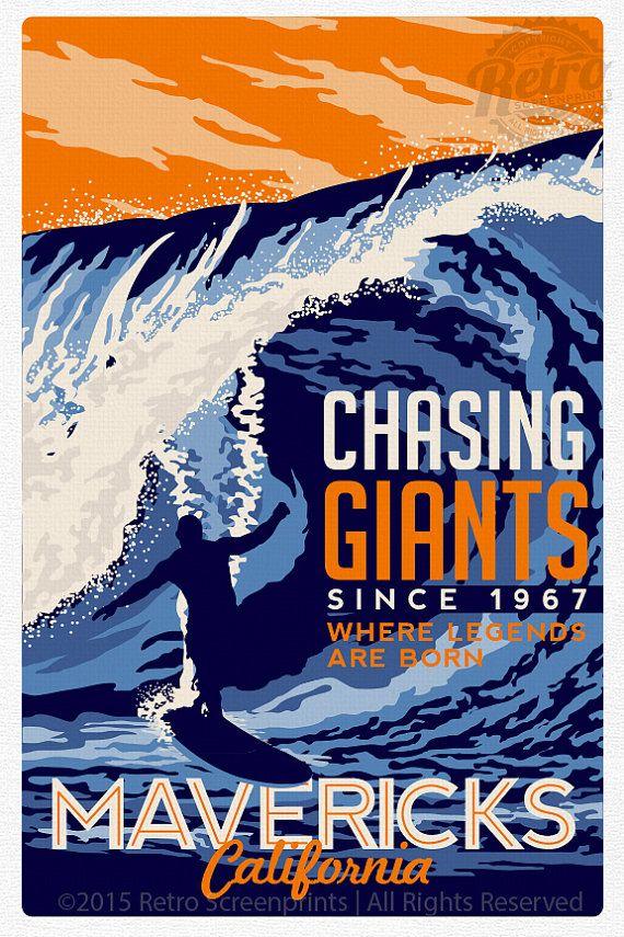 Surfing Travel poster Mavericks california by RetroScreenprints