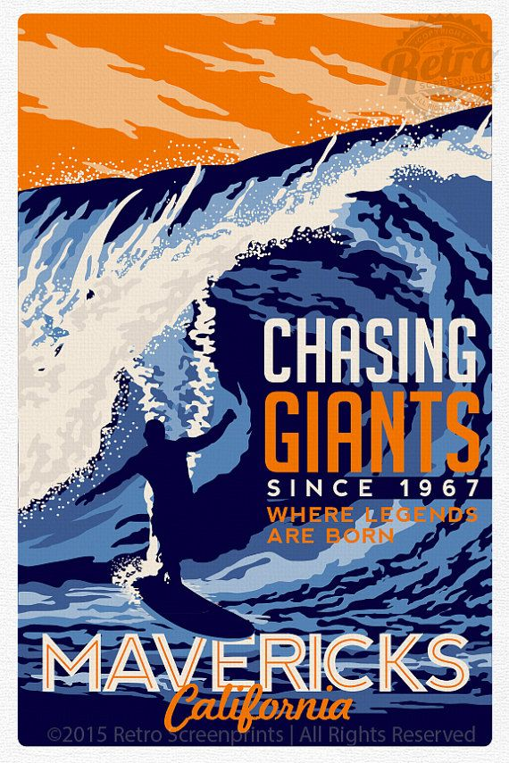 Surfing Travel poster Mavericks california by RetroScreenprints