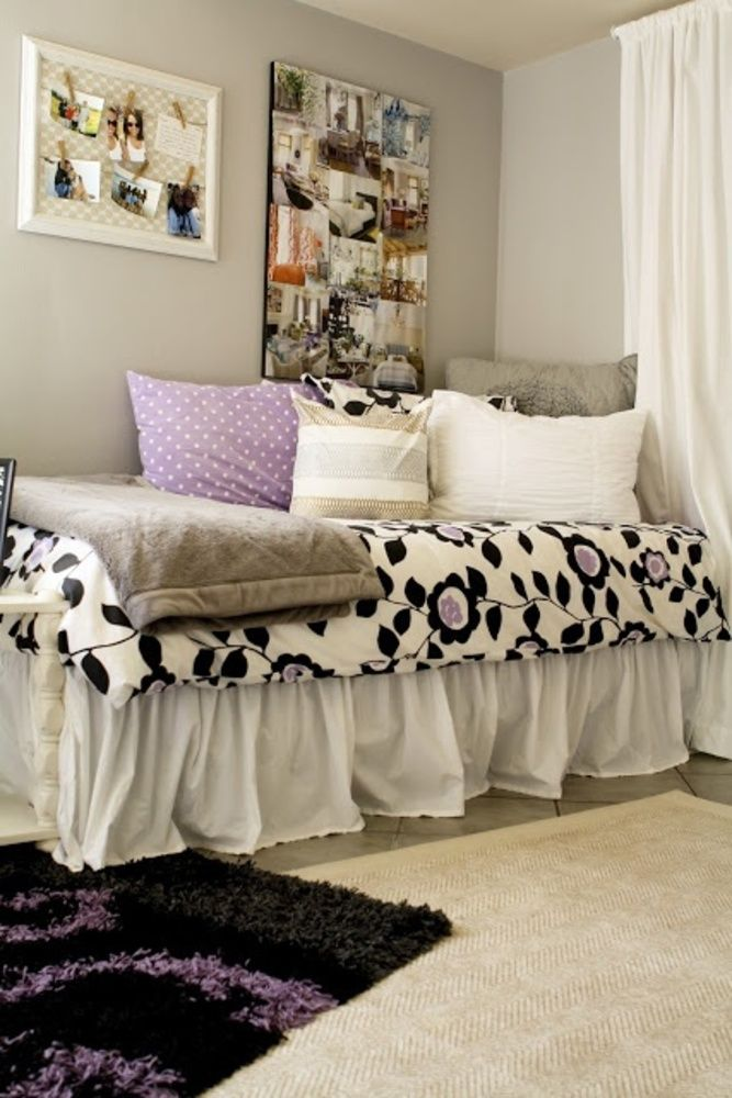 College Room Ideas. not as frilly fussy or colors. Like bed skirt and wall storage