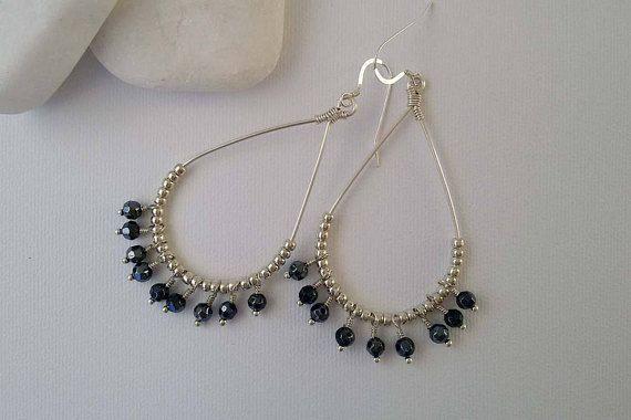 Blue Czech Glass Earrings Glass Beaded Earrings Teardrop
