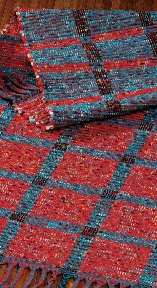 This cute rep-woven rug is woven with rags! Try your own with the pattern in this free rag weaving eBook.