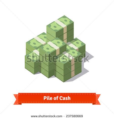 Big stacked pile of cash. Hundreds of dollars. Flat style isometric illustration. EPS 10 vector. - stock vector