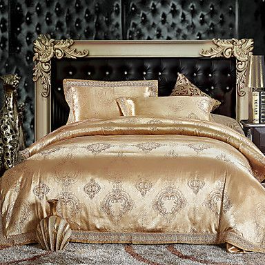 4-Piece+300TC+Golden+Jacquard+Full/Queen+Duvet+Cover+Set+–+GBP+£+55.67