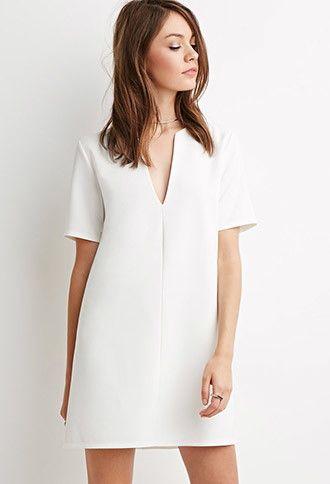 V-Neck Crepe Shift Dress | Forever 21 - 2000141059