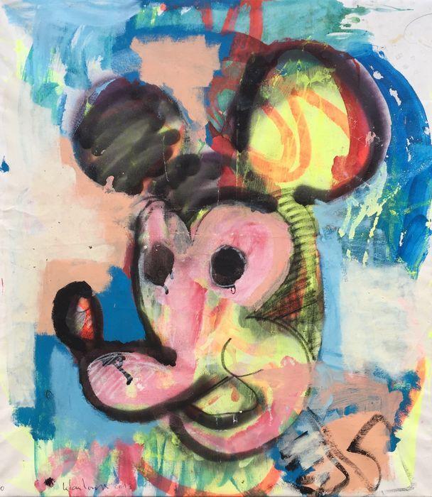 Peter Klashorst - Mickey Mouse  Acrylverf werk van Peter Klashorst uit 2013. De afmeting van het schilderij is circa 80 x 70 cm. Het doek is reeds voor u opgespannen op een houten frame.De gebruikte techniek is acrylverf op katoen. Let op: Als bewijs van echtheid ontvangt u bij dit originele werk de digitale foto waarop Peter zelf het werk in handen heeft (zie foto 2). Dit is voor u de garantie dat u geen vals werk koopt.  EUR 50.00  Meer informatie