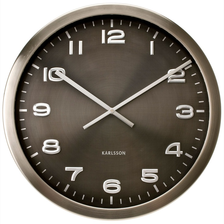 Karlsson klok  Maxi Steel  polished grey   € 95,-   diameter 50cm.