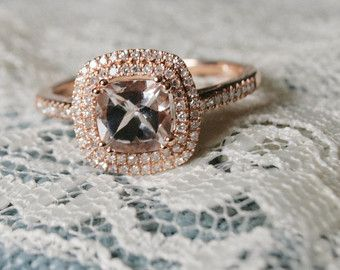 Rose Gold Diamond Engagement Ring Rose Gold Cushion by Pompeii3