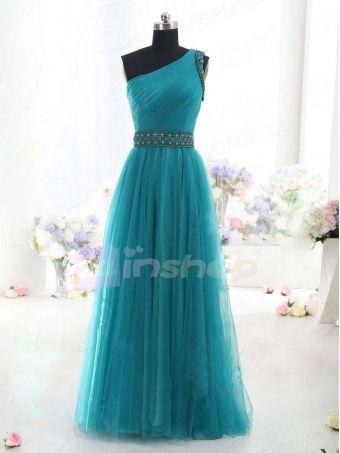 Charming A-line one shoulder Tulle Turquoise Prom Dress,Evening Dress,Wedding Dress,Graduation Dress