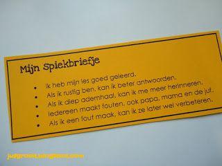 """Spiekbriefje tijdens een toets ( ge repind van Wim Verminne een collega uit België) Een mooi """"ankertje"""" om kinderen rustig aan een toets te laten beginnen, super!"""