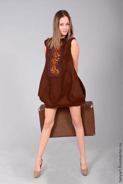 """Платье-туника """"Все в шоколаде"""" - коричневый,платье,платье валяное,платье-туника"""