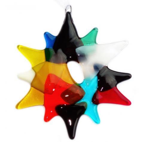 Handgemaakte kerst ster van divers roze,paars en groen glas! Unieke glazen kerstversiering! | Huis en Inrichting - Woonaccesoires