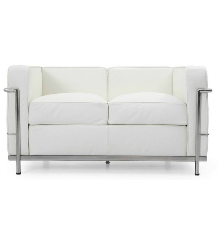 White Italian Leather Two Seat Sofa Le Corbusier LC2 style – Onske