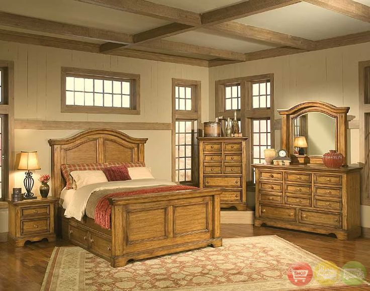 Queen Bedroom Set Suite Rustic Under Bed Storage 5 PC | EBay