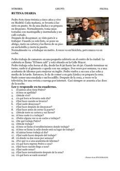Two Spanish Reading worksheets on jobs and daily routine with lots of questions.Very thorough activity.