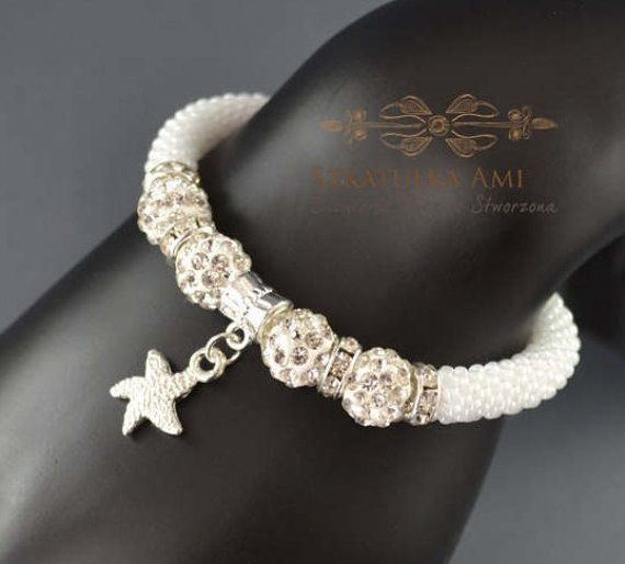 Starfish Bracelet bangle rubber beads Shamballa beads seed